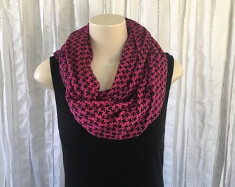 Infinity Scarf, Black and Pink Recycled Fabric Scarf, Hot Pink and Black