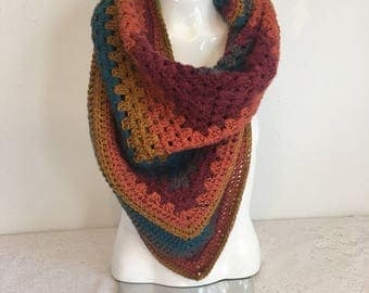 Fall Rainbow Scarf, Granny Square Crochet Scarf, red, orange, mustard, grey,  blue striped scarf, crochet scarf, yarn scarf