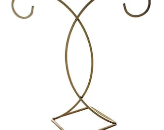 """13"""" Gold Finished Diamond Base 2 Arm Christmas Ornament Stand"""
