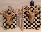 Hand Painted Black / White Check Glitter Stag head Deer Mount Hanging