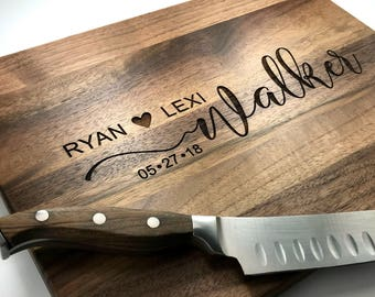 Personalized Cutting Board, Custom Wedding Gift, Love Tree with Carved Heart, Anniversary Gift, Housewarming Gift, Engagement Gift, Bamboo