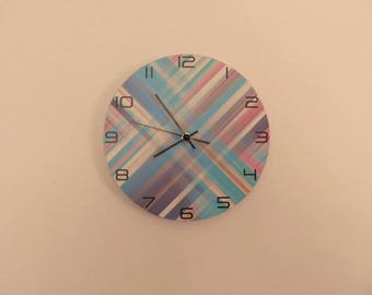 Modern Cross striped coloured wall clock,  kids room  coloured,  Housewares, nurcery wall clock, gift for boys or girls,  animal wall clock
