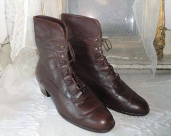 Real leather boots GABOR 42 cord boots Brown 80s 90s true vintage ankle lace ankle boots leather ankle boots shoes boots
