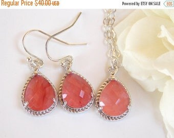 SALE Bridesmaid Jewelry Set, Coral Earrings and Necklace Set, Grapefruit, Peach, Sterling Silver, Wedding Jewelry, Dangle,Gift, Pendant Set,