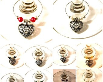 10 x Silver filigree hearts wine glass charms favors