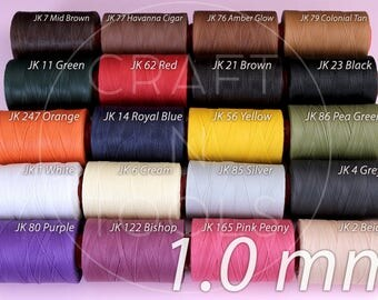 Leather Sewing Thread RITZA 25 1.0mm in 20 Colours/Waxed Tiger Thread/Polyester Thread/Saddlers Thread/Thread for Leather Craft