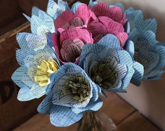 Paper flower bouquet, first anniversary gift, handmade and hand dyed, recycled bouquet, book print pink and blue flowers
