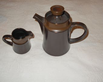 Noritake Primastone collection with coordinating teapot. Two tone brown.
