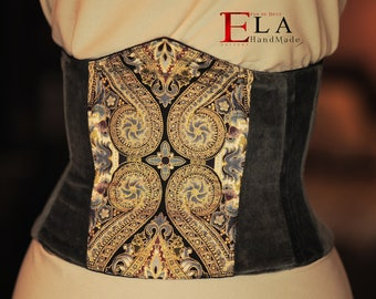 Baroque underbust velvet corset