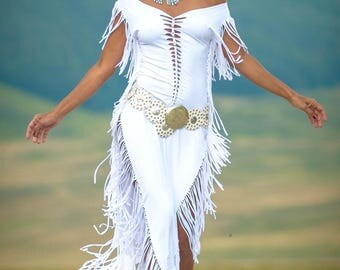 Fringes dress AURA white  for woman ripped and braided by Ça Déchire - Festival - Burning Man