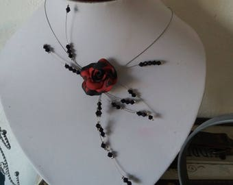 special festive red and black wire necklace hypoallergenic available on wedding