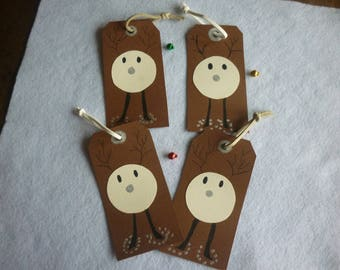 Bookmarks Brown background, reindeer head in the snow, sold in sets of 4.