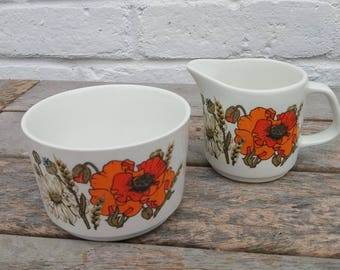 Retro Vintage J and G Meakin Eve Midwinter 'Poppy' Design Sugar Bowl and Creamer