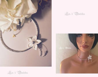 Bridal satin flower rhinestone necklace * 3 lace *.