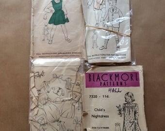 4 Vintage Baby and Children's  Wear Patterns 1940s, 1950s