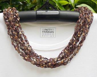 Crochet Ladder Yarn Necklace, Mocha Latte