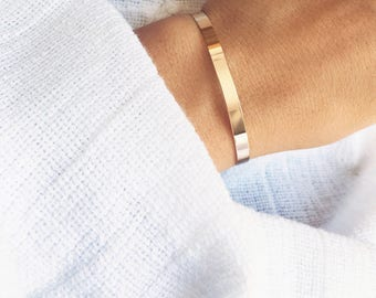 Bracelet, adjustable thin plated gold 750/000 - gold plated bangle