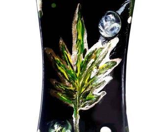 "Black ceramic vide-poche ""Print of one leaf"" with inlay powder gold"