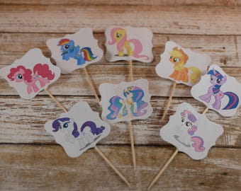 My Little Pony cupcake topper, My Little Pony cupcake picks, Derpy Hooves,Rainbow Dash,Applejack,Princess Celestia,My Little Pony theme