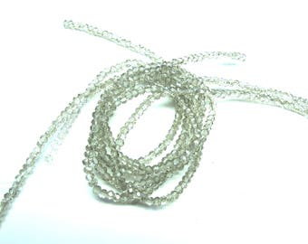 25 ROUND GLASS BEADS HAS FACETED 3 MM SMOKE GREY