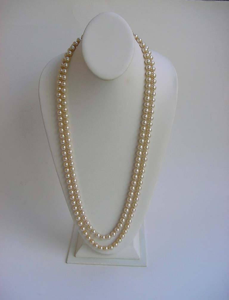 Miriam Haskell Pearl Necklace Sautoir Strand Flapper Length Baroque