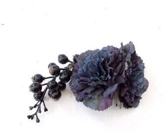 Navy Blue Berry Flower Hair Comb Bridesmaid Bridal Wedding Blueberry Rose 3567