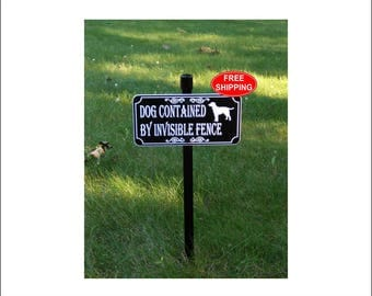 Labrador DOG CONTAINED By Invisible FENCE Lawn Sign - Free Shipping