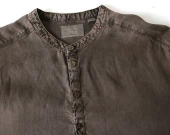 Vintage Khaki Linen Mens Shirt Summer Long Sleeve Shirt Size L/G