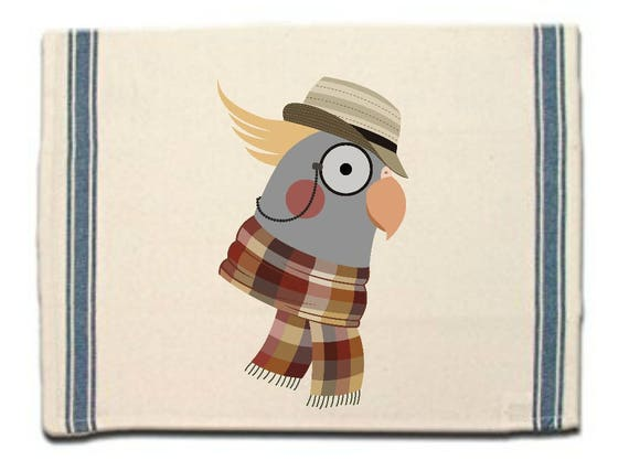 Hipster Cockatiel Kitchen Towel,Dish Towel, Tea Towel, Flour Sack Material,Woodland Animals Dish Towels,Flour Sack Kitchen Towel, Dish Cloth