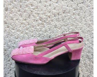 Shoes Chanel Model 60 years-Vintage Pink leather Sling Back Sandals Num. 37