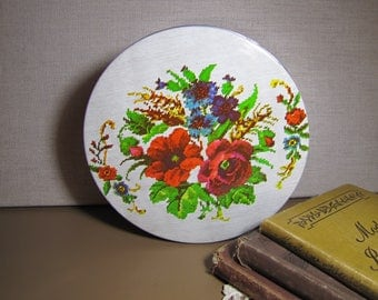 Vintage Round Tin - Cross Stitch Look - Floral Pattern - Listing #2