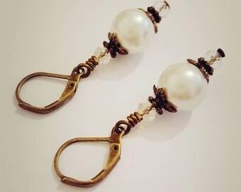 Antique Brass Pearl Earrings Brass Pearl Crystal Earrings Dangle Brass Flower Earrings Antique Jewelry Vintage Style Jewellery Wedding Gift