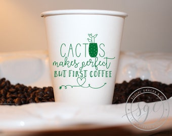 Cactus Coffee Cups   Customizable Paper To Go Cups   social graces and Co