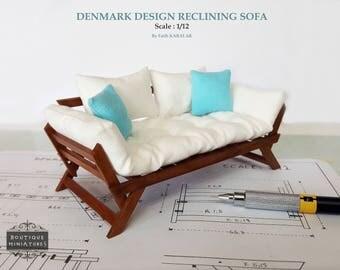 Miniature Scandinavian, Denmark Design Reclining Sofa, Lounge, Settee, Modern, Dollhouse furniture, artisan oneich 1:12 Scale