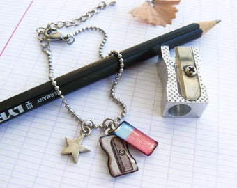 Eraser and pencil sharpeners silver chain bracelet