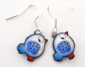 Blue birds in 925 Silver earrings
