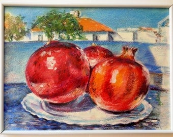 Original Painting Pastel Oil Colorful Three Pomegranates View Greek Island Village  Framed Wall Art Gift Home Office Decor