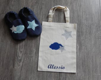 Soft leather shoes and bag personalized
