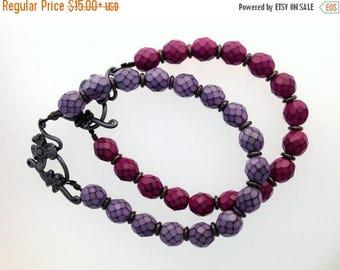 50% OFF Purple or Fuchsia Glass Bracelets with Gun Metal Findings