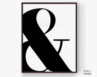 Ampersand Print, Modern Letter, Black and White, Modern Art, Chic Fashion, Poster, Wall Art, Printable Digital Download
