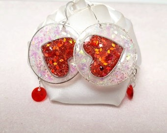 Earrings red passion love duets