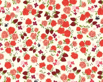 SALE 30 % OFFRoseberry strawberries and roses  Premium Cotton Fabric from Michael Miller Fabrics