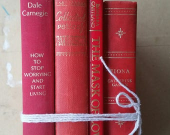 Vintage book bundle/ 4  red books with gold print down each spine /display or read/ very good condition