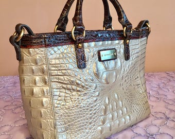 Vintage authentic Brahmin alligator croc embossed crossover handbag / pearl and brown /free shipping