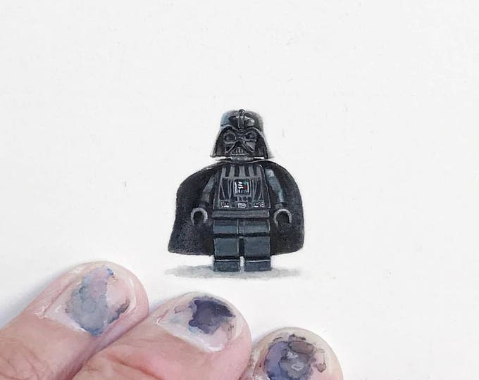 "Print of miniature painting of lego Darth vader  1 1/4 x 1 1/4"" print of original Darth Vader painting on 5"" square german etching paper"