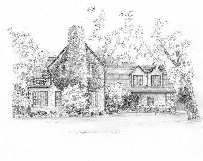 "Custom Pencil sketch House drawing from your photo 8"" x 10"" drawing"