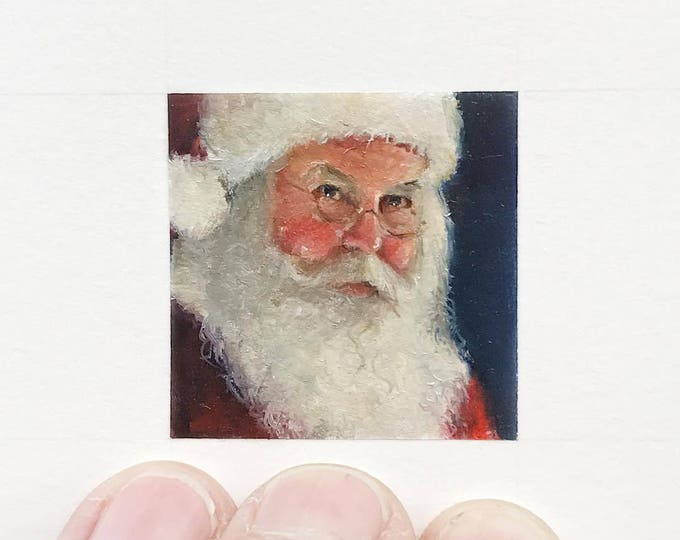 Original Santa painting, miniature painting of santa, st. nicholas christmas portrait.