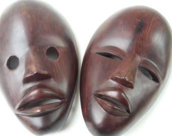 Pair African hard wooden tribal DAN mask , Liberia, Ivory Coast - Africa