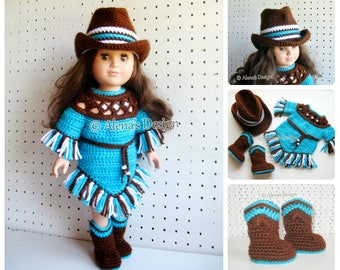 Crochet Pattern 3 PC Set for 18 in Doll Crochet Patterns Western Doll Outfit Boots Cowgirl Hat Fringe Dress American Girl Dolls Clothes AG