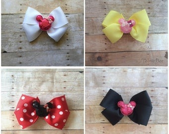 Minnie Mouse Bow - Disney Bow - Minnie Bow - Disney Hair Bow - Minnie Baby Bow - White Disney Bow - Yellow Disney Bow - Red Minnie Bow